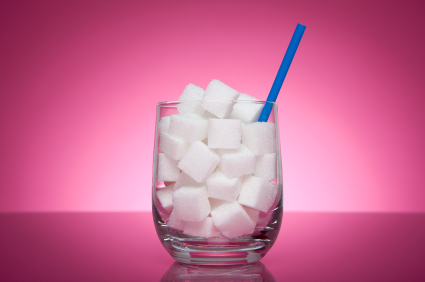 soda sugar cubes in glass